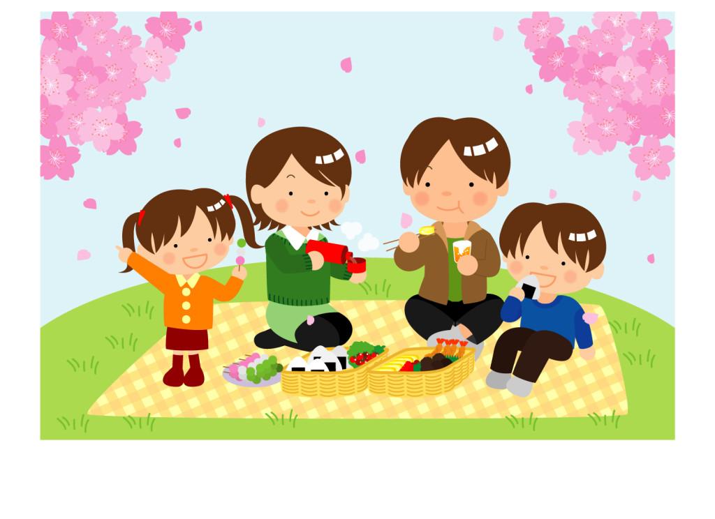 水筒をもって家族で花見